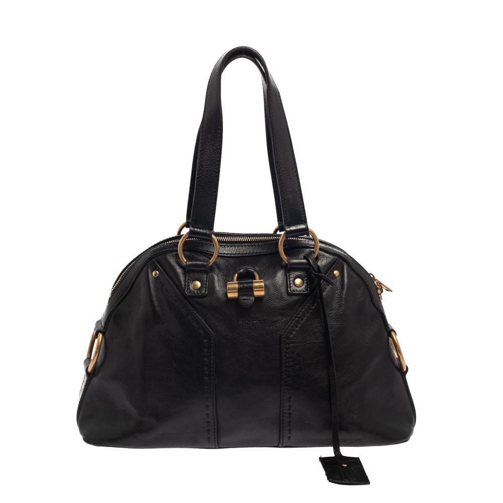 Pre-owned Saint Laurent Paris Saint Laurent Black Leather Medium Muse Bag