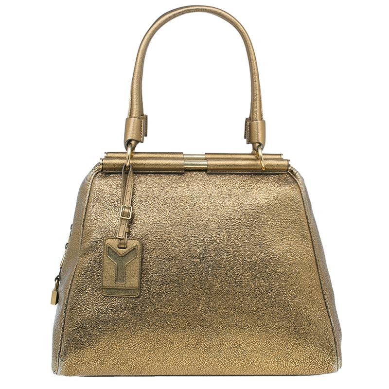 18f19fcc8250 Buy Saint Laurent Paris Metallic Gold Leather Medium Majorelle Tote Bag 3833  at best price