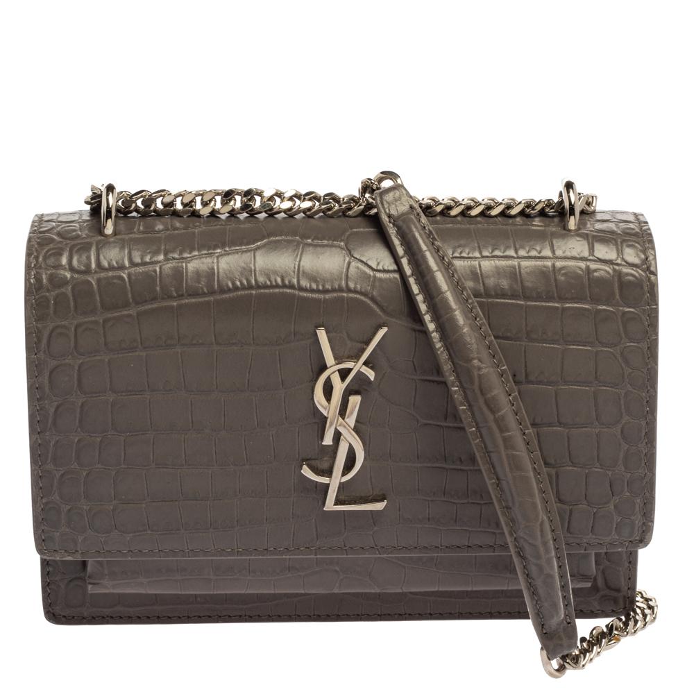 Pre-owned Saint Laurent Paris Saint Laurent Grey Croc Embossed Leather Sunset Shoulder Bag