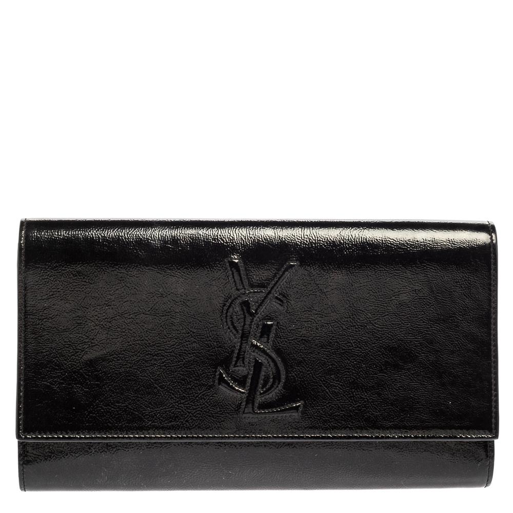 Pre-owned Saint Laurent Paris Saint Laurent Black Patent Leather Belle De Jour Flap Clutch