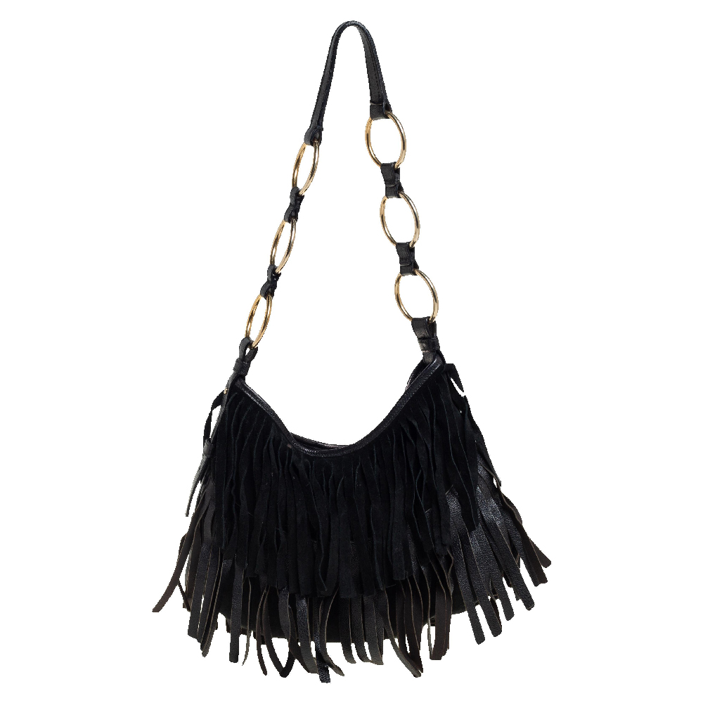 Pre-owned Saint Laurent Black Fringed Suede And Leather La Boheme Hobo