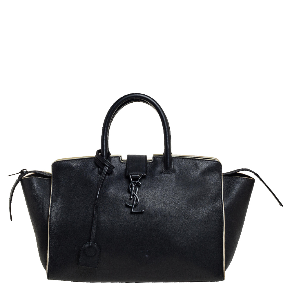 Pre-owned Saint Laurent Black Leather Small Downtown Cabas Tote