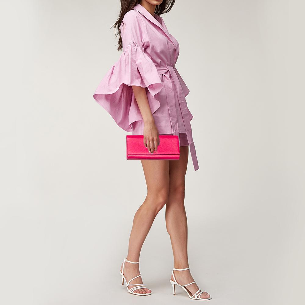 Saint Laurent Pink Pebbled Leather Cassandre Clutch