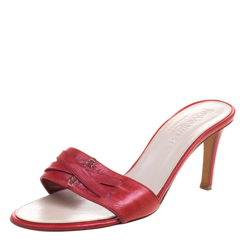 Купить со скидкой Saint Laurent Paris Red Leather Slides Size 38