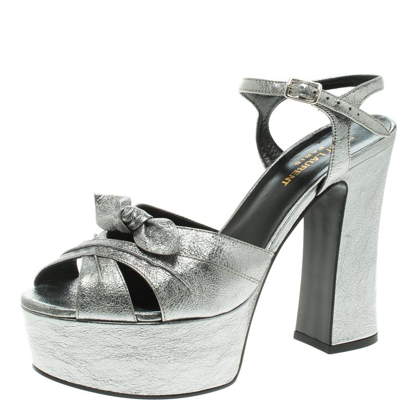 ad8922e9df1 ... Saint Laurent Paris Silver Metallic Leather Candy Ankle Strap Platform  Sandals Size 38.5. nextprev. prevnext