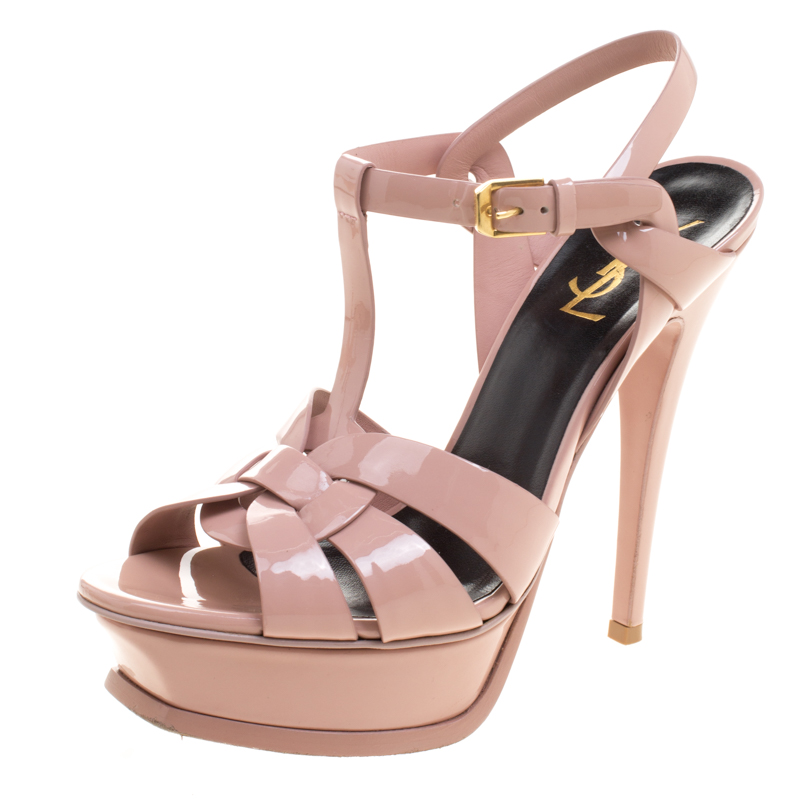 2032bc8ac9f8 Buy Yves Saint Laurent Blush Pink Leather Tribute Platform Sandals ...