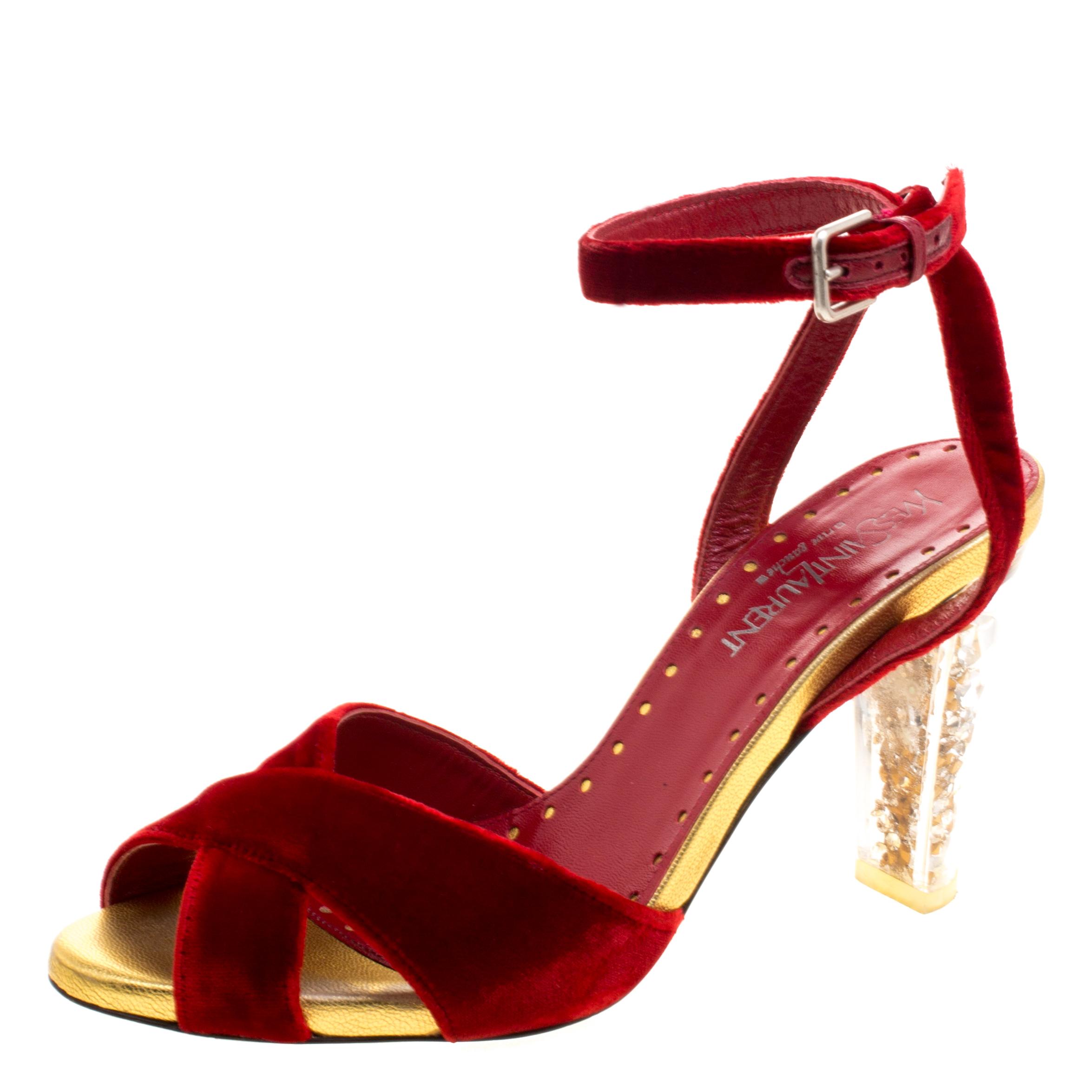026e5355a5c ... Red Velvet Embellished Heel Cross Ankle Strap Sandals Size 37.5.  nextprev. prevnext