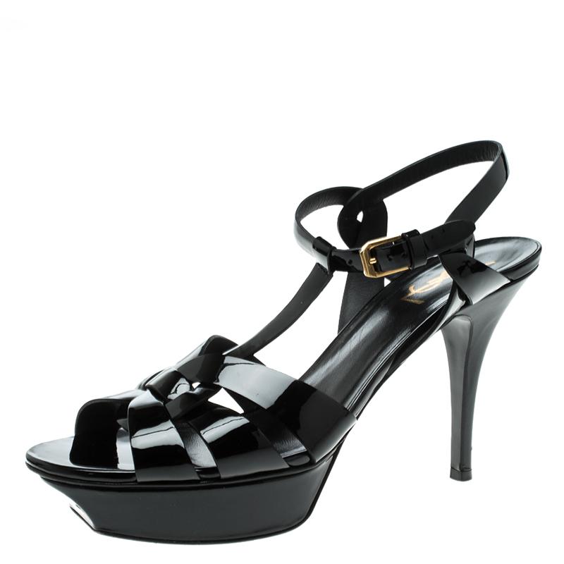 91558bf9561 ... Yves Saint Laurent Black Patent Tribute Platform Sandals Size 40.5.  nextprev. prevnext