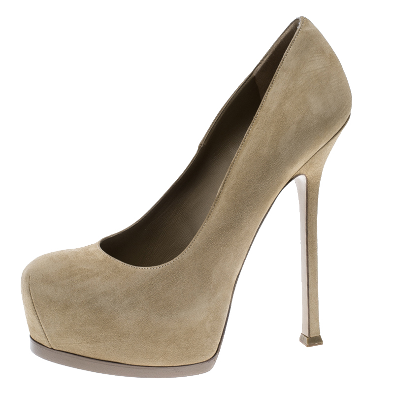 bcb263155ea Buy Yves Saint Laurent Beige Suede Tribtoo Platform Pumps Size 38.5 127291  at best price