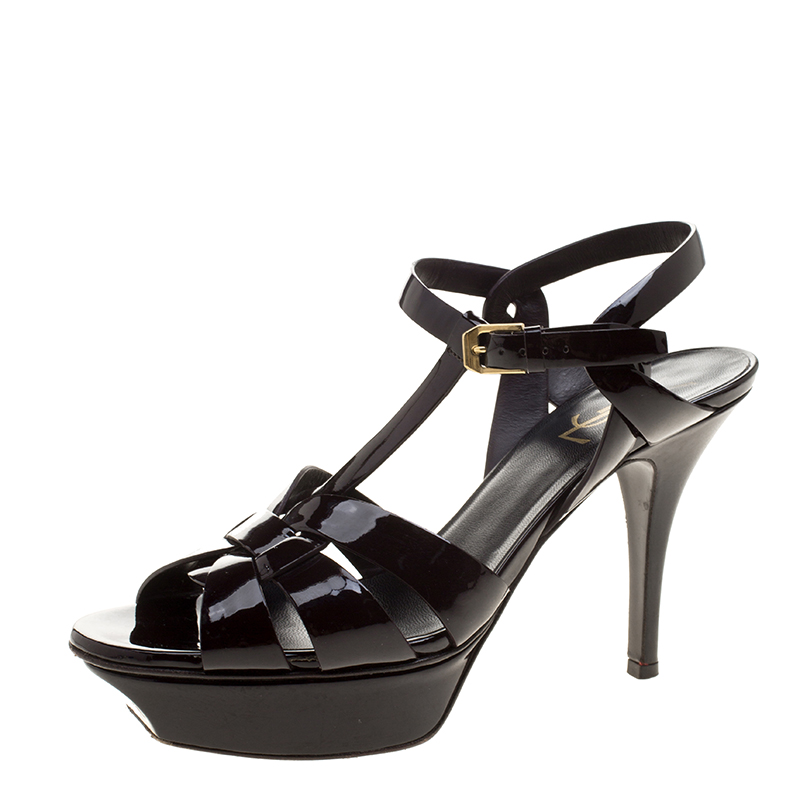 807bfd4b694 ... Yves Saint Laurent Bordeaux Patent Leather Tribute Sandals Size 38.  nextprev. prevnext