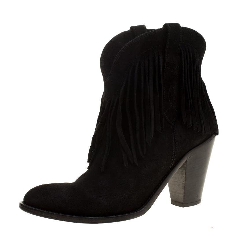 26784139e44 Saint Laurent Paris Black Suede Fringe New Western Boots Size 37