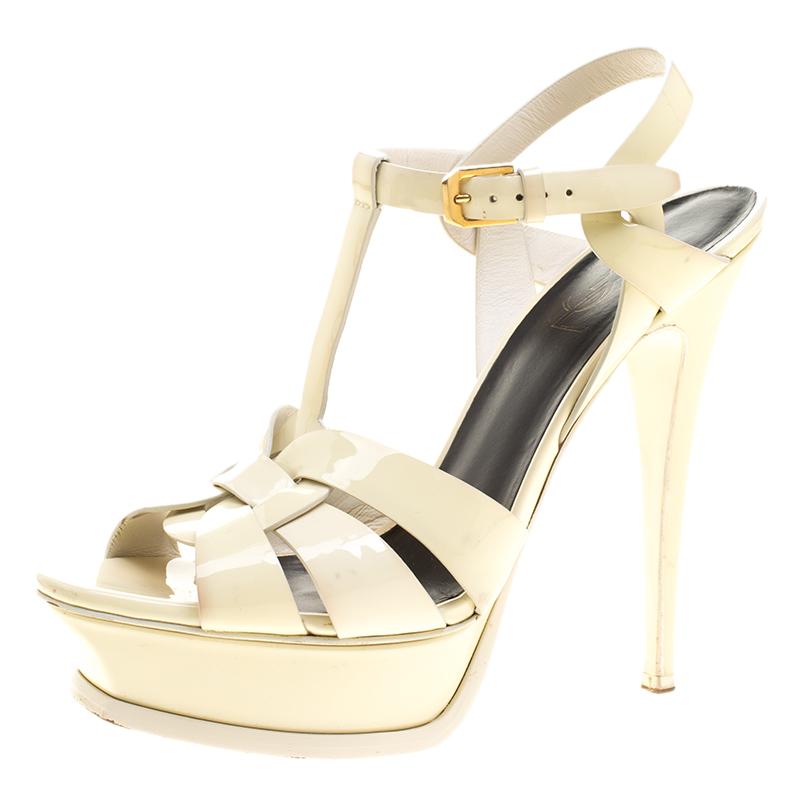 7c905510c56 ... Saint Laurent Paris Cream Patent Leather Tribute Platform Sandals Size  38. nextprev. prevnext