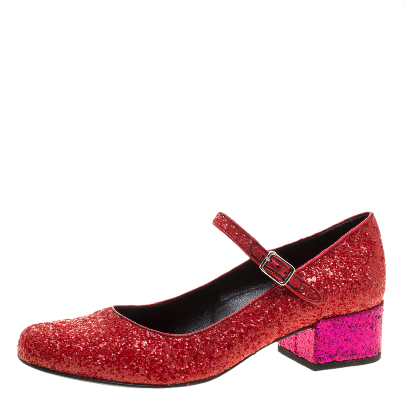 358e34e19f85 Buy Saint Laurent Paris Red And Pink Glitter Babies Block Heel Pumps ...