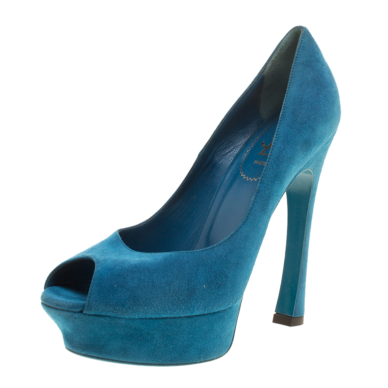 f0725bb7 Yves Saint Laurent Blue Suede Palais Platform Peep Toe Pumps Size 39.5