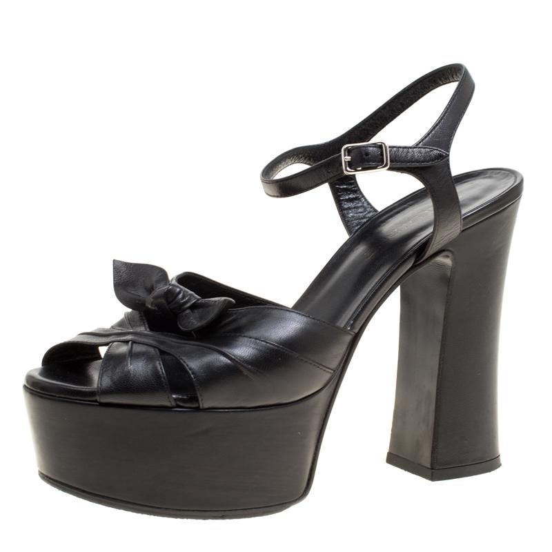 9cb99d66fc4 ... Saint Laurent Paris Black Leather Candy Ankle Strap Platform Sandals  Size 37. nextprev. prevnext