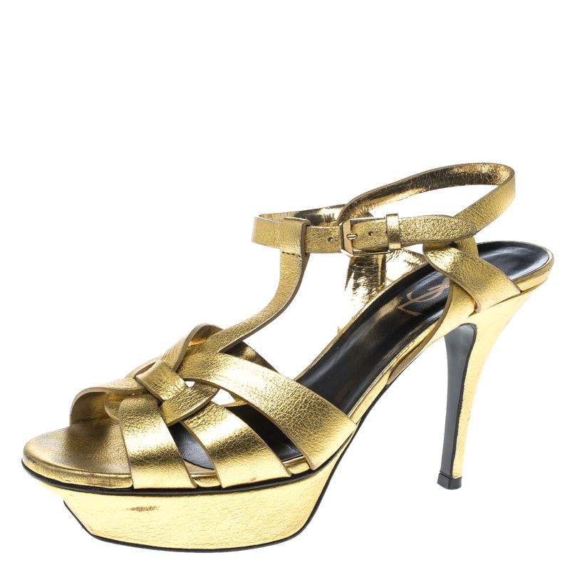 6982cb89f3fc11 ... Saint Laurent Paris Metallic Gold Leather Tribute Platform Sandals Size  37.5. nextprev. prevnext