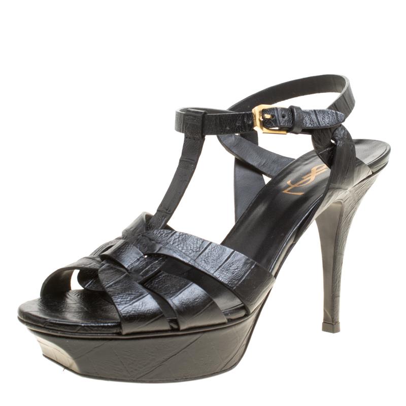 e0d68ee07e Saint Laurent Paris Black Croc Embossed Leather Tribute Platform Sandals  Size 38
