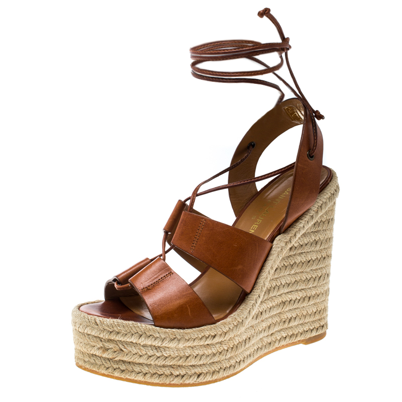 6c95f60c44b Saint Laurent Brown Leather Lace Up Espadrille Wedge Sandals Size 36
