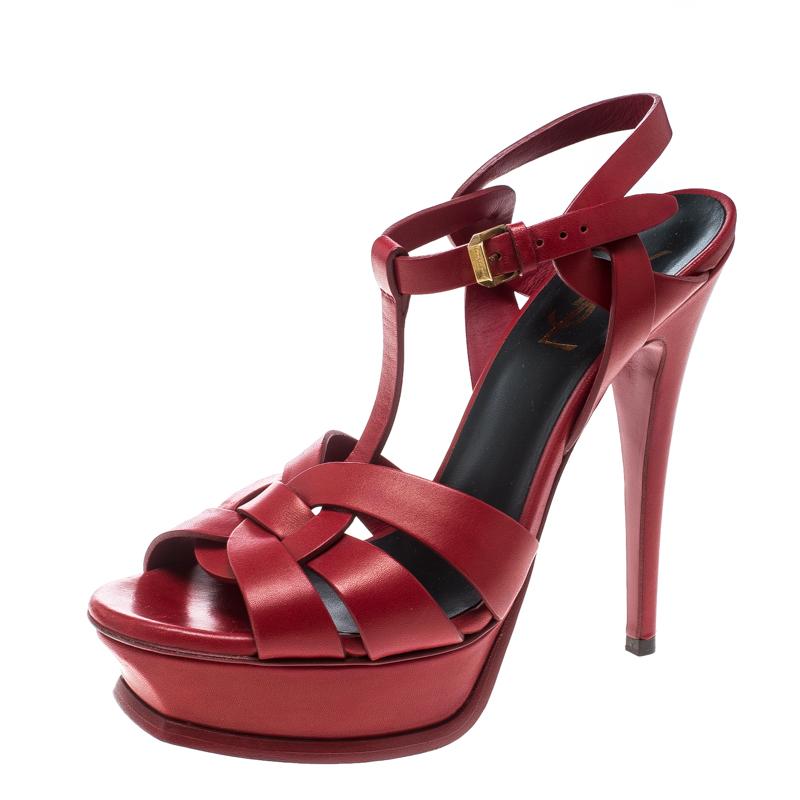 a906581450f ... Saint Laurent Paris Red Leather Tribute Platform Sandals Size 38.  nextprev. prevnext