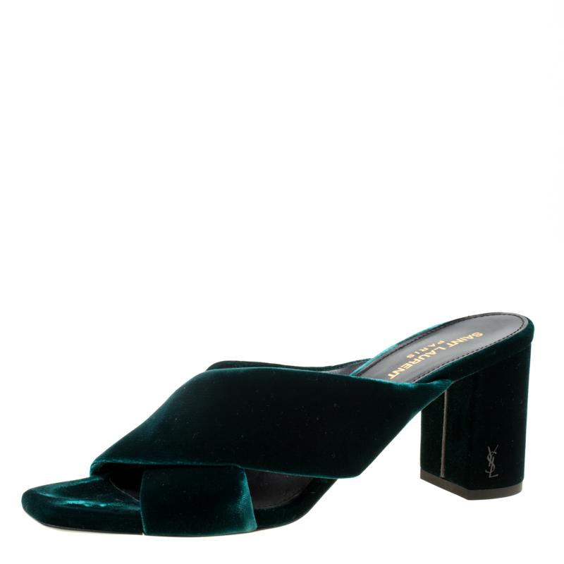 9e8cfc8642d ... Saint Laurent Paris Emerald Green Velvet Loulou Criss Cross Mules Size  39.5. nextprev. prevnext