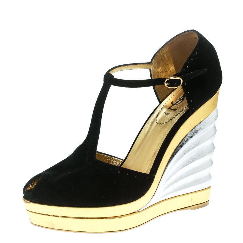 f0052a065b51 Buy Saint Laurent Paris Black Suede Peep Toe Wedge Platform Sandals ...