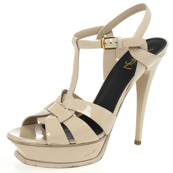 250dc4695291 Buy Yves Saint Laurent Nude Patent Tribute Platform Sandals Size ...