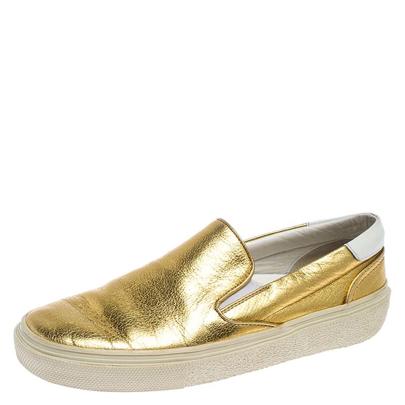 Saint Laurent Metallic Gold Leather Slip On Loafers Size 36