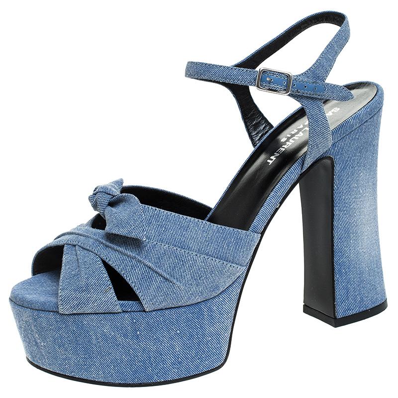 Saint Laurent Blue Denim Fabric Candy Bow Platform Sandals Size 38.5