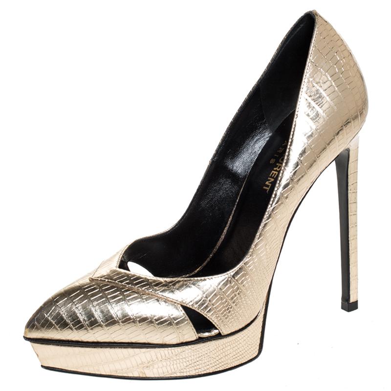 Saint Laurent Paris Gold Embossed Leather Pointed Toe Platform Pumps Size 37.5