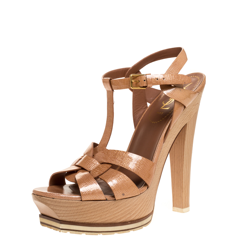 Saint Laurent Rose Gold Parent Leather Tribute Wood Platform Sandals Size 39