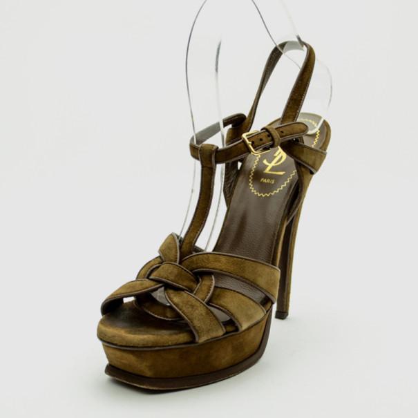 25d6abe093d ... Yves Saint Laurent Brown Suede 'Tribute' Platform Sandals Size 37.  nextprev. prevnext