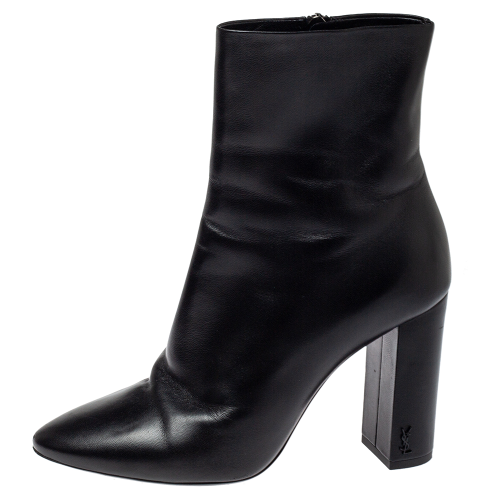 Saint Laurent Paris Black Leather Mid Length Boots Size 39