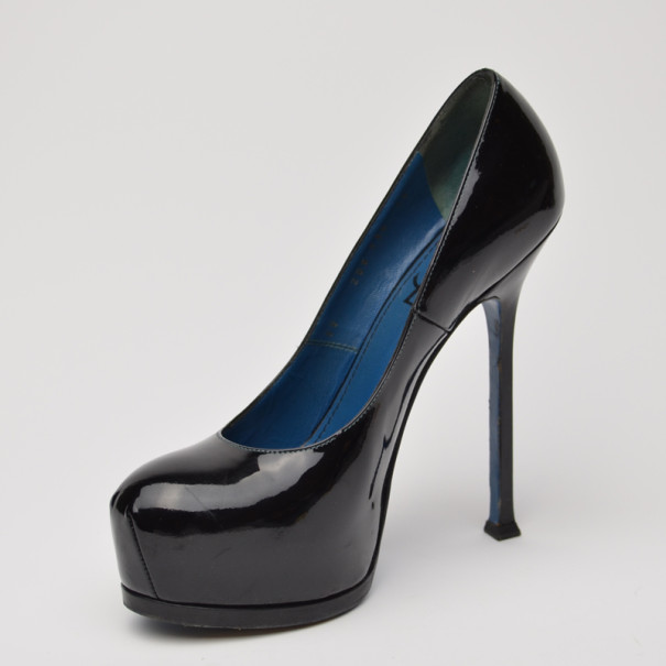 75ab2edb0195 Buy Yves Saint Laurent Black Tribute Double Platform Pumps Size 38 ...
