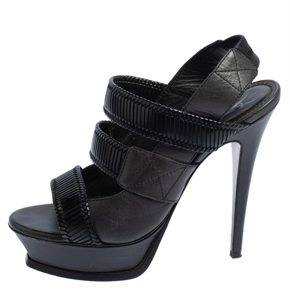 Saint Laurent Black Leather Slingback Platform Sandals Side 39, Saint Laurent Paris  - buy with discount