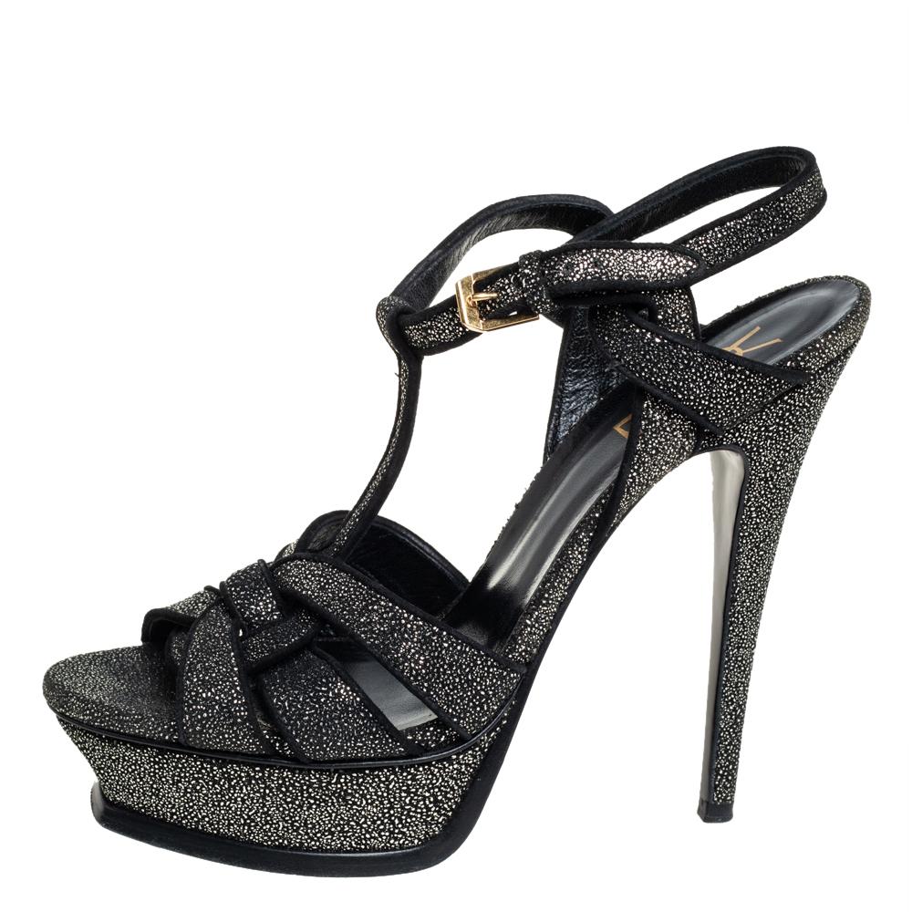 Saint Laurent Black Glitter Tribute Platform Sandals Size 38.5, Saint Laurent Paris  - buy with discount