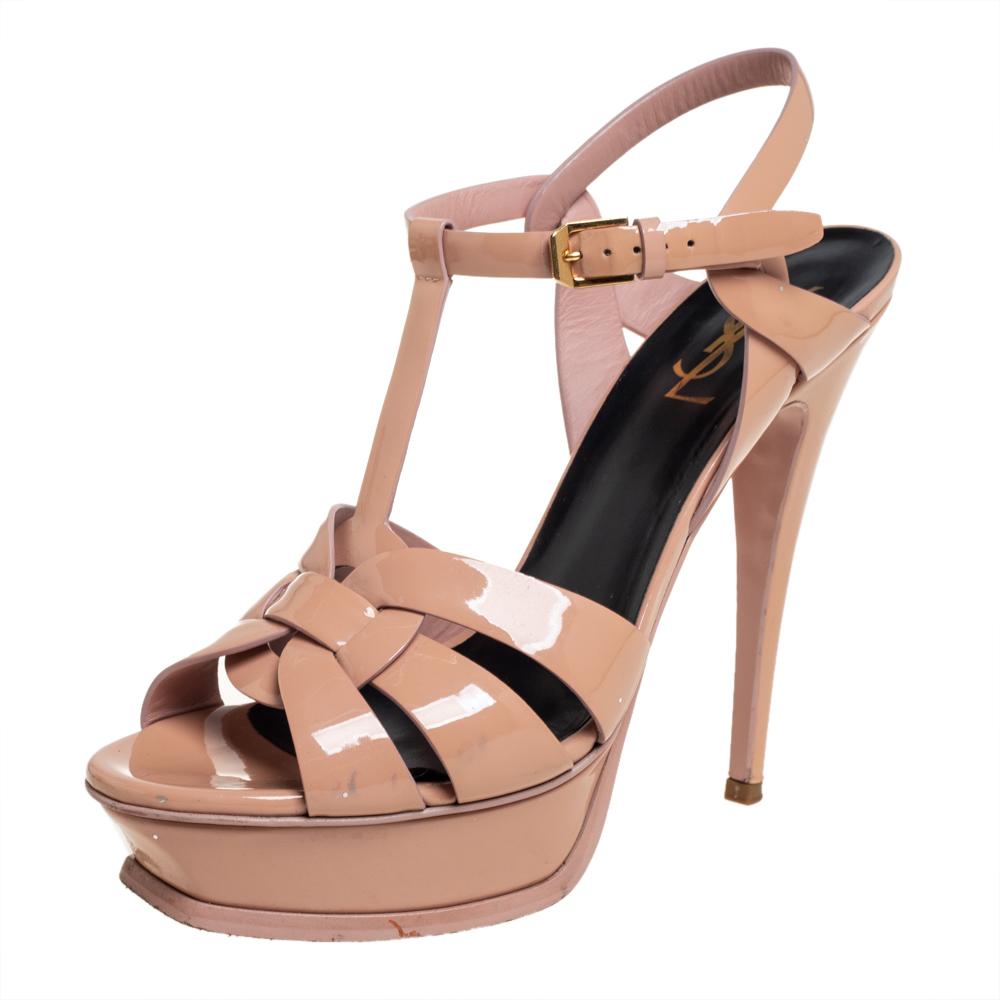 Pre-owned Saint Laurent Beige Patent Leather Tribute Sandals Size 39.5