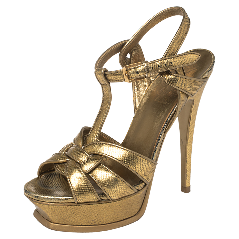 Pre-owned Saint Laurent Gold Lizard Embossed Leather Tribute Sandals Size 36