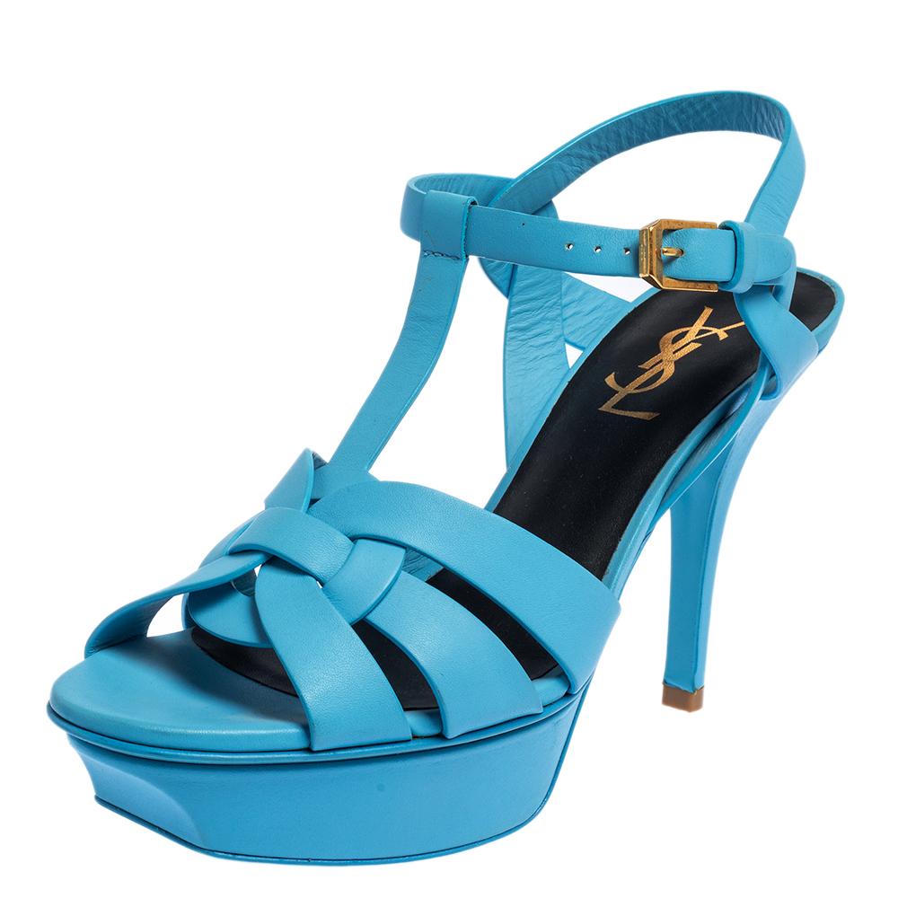 Pre-owned Saint Laurent Powder Blue Leather Tribute Sandals Size 36