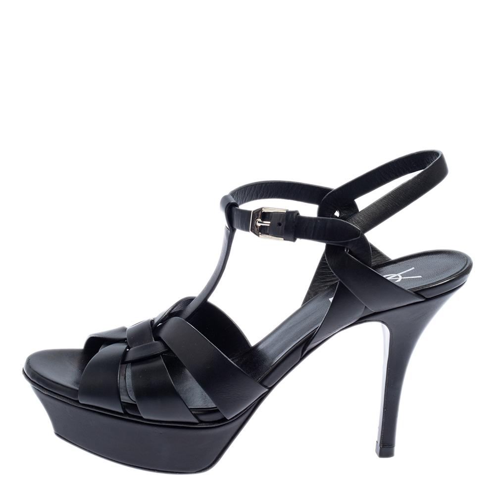 Saint Laurent Black Leather Tribute Sandals Size 36.5