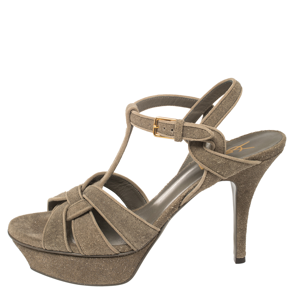 Saint Laurent Grey Shimmery Suede Tribute Platform Sandals Size 38