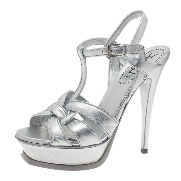 1ec7cc6a90d Buy Saint Laurent Paris Silver Leather Tribute Platform Sandals Size 37  6151 at best price