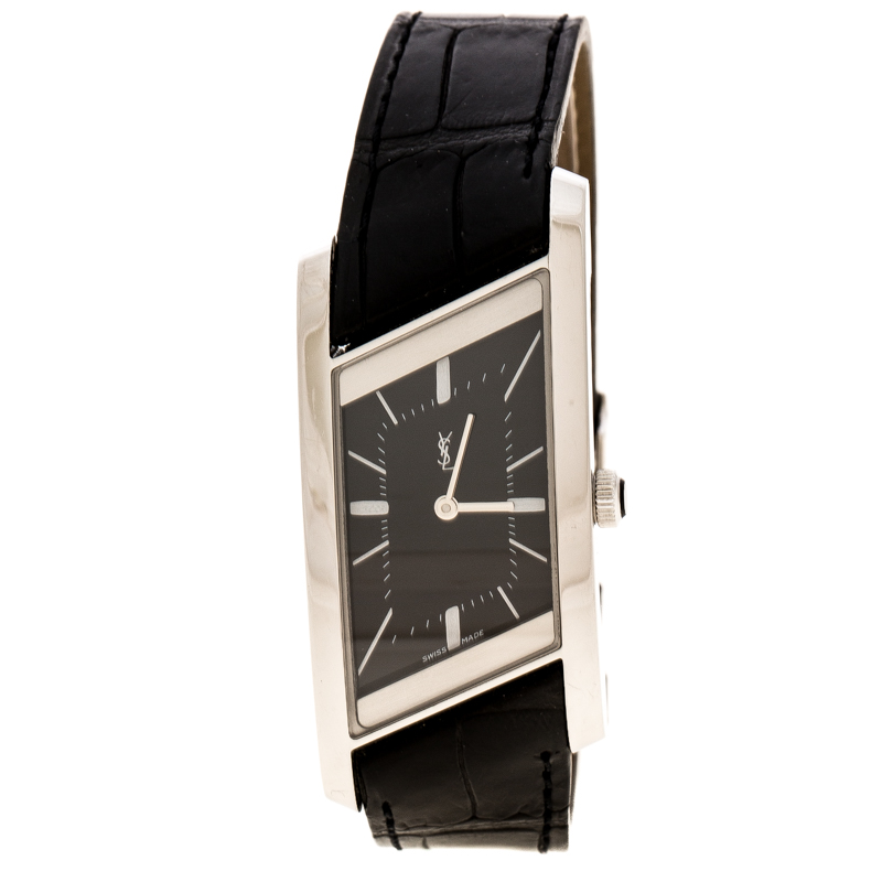 Yves Saint Laurent Paris Black Stainless Steel Rive Gauche Women's Wristwatch 24 mm