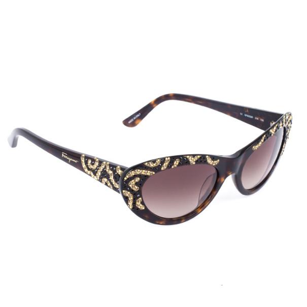 d0111d6b48991 ... Salvatore Ferragamo Brown and Gold Limited Edition 625SR Womens Cat Eye  Sunglasses. nextprev. prevnext