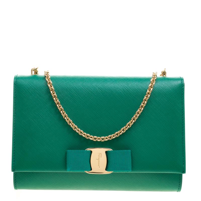 Buy 124892 Ginny Leather Green Ferragamo Salvatore At Shoulder Bag r7Tq0r4w