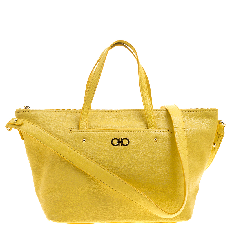 d61b7380b55e ... Salvatore Ferragamo Yellow Leather Small Mika Tote. nextprev. prevnext