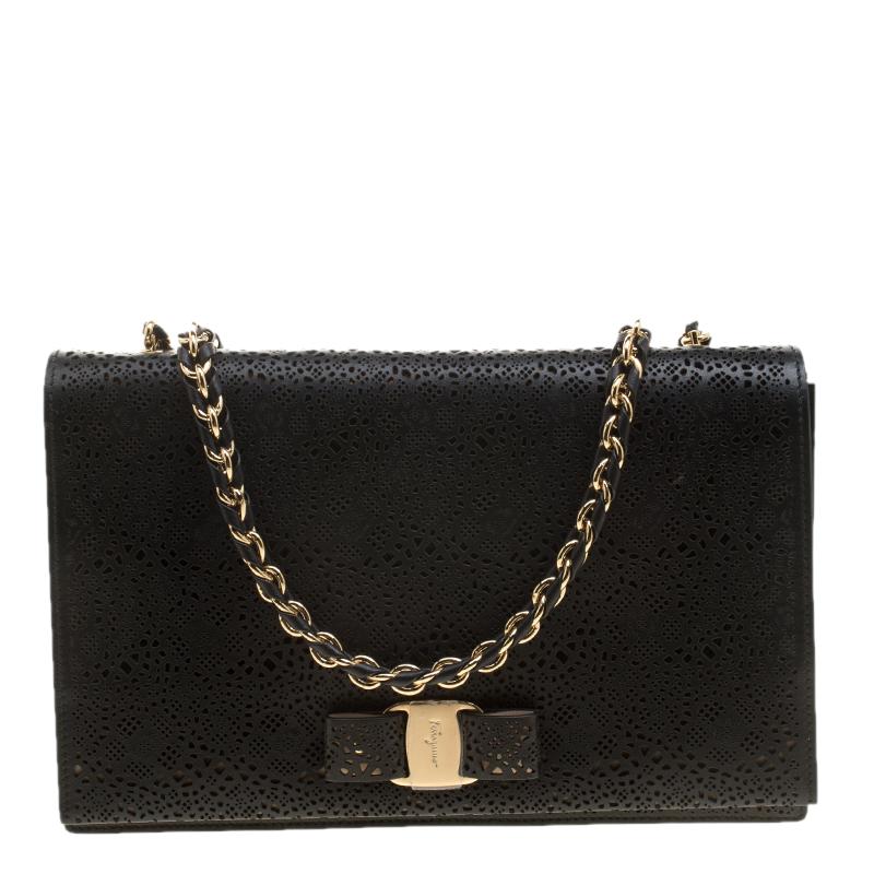 Salvatore Ferragamo Black Laser Cut Crossbody Bag Leather Ginny kXPOuTZi