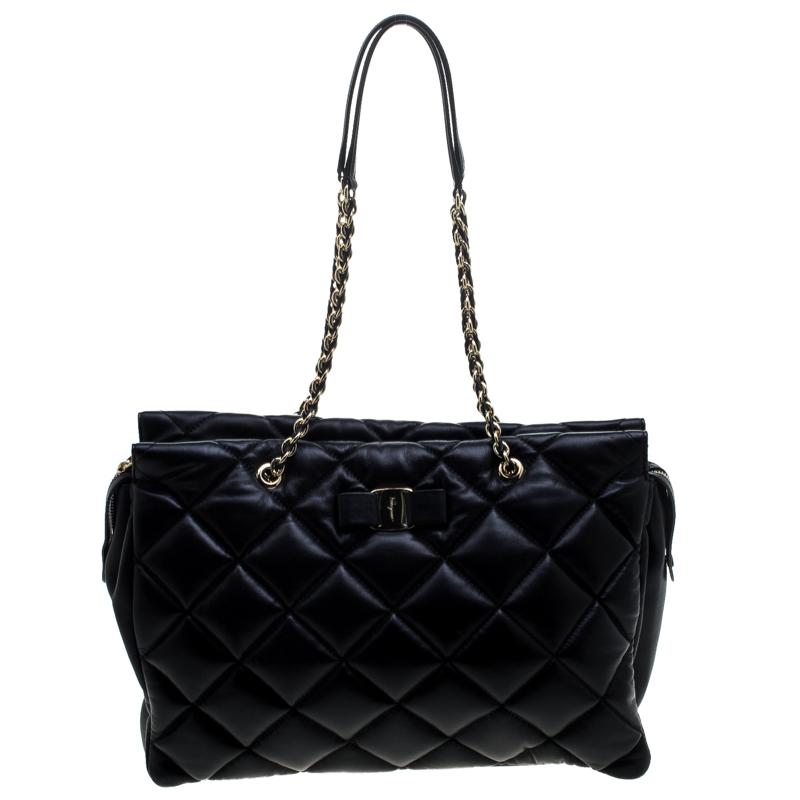 069f019e9a ... Salvatore Ferragamo Black Quilted Leather Ginette Chain Shoulder Bag.  nextprev. prevnext