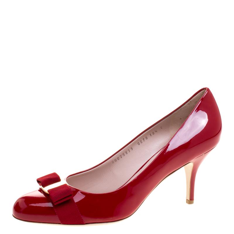 f79085fdb9 ... Salvatore Ferragamo Red Patent Leather Carla Vara Bow Pumps Size 41.  nextprev. prevnext