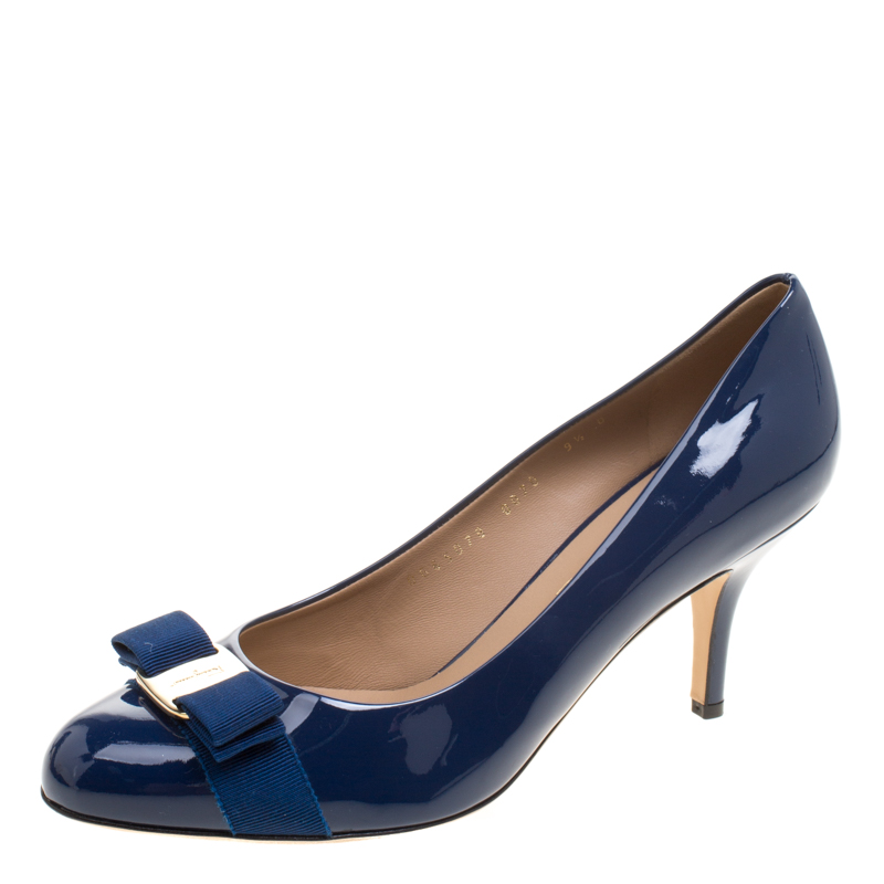 85eb8709aaa4 ... Salvatore Ferragamo Cobalt Blue Patent Leather Carla Vara Bow Pumps  Size 40. nextprev. prevnext