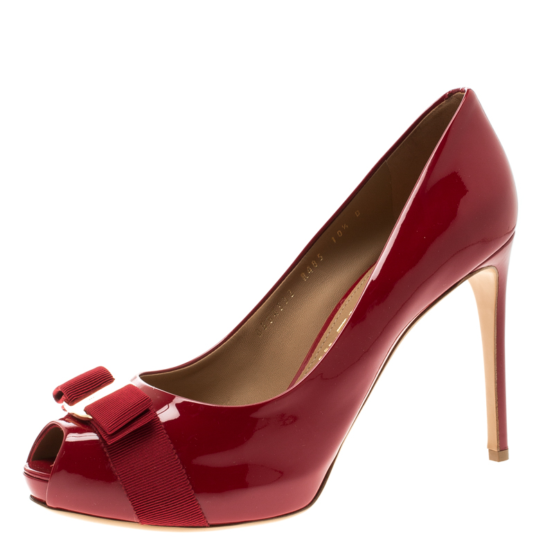 ce300b54a0 ... Salvatore Ferragamo Red Patent Leather Plum Peep Toe Platform Pumps Size  41. nextprev. prevnext
